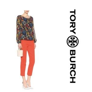 Tory Burch Poppy Red Tabby Cropped Pants (4)